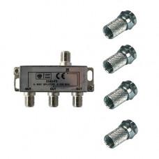AANSLUITMODULE 3 WEG+4 F-CONNECTOR